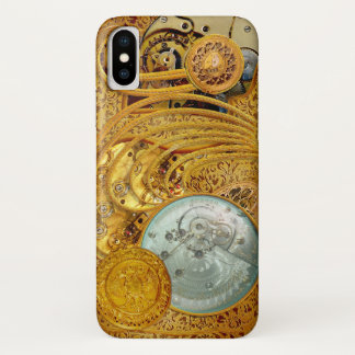 Coque iPhone X Steampunk en or de Faux