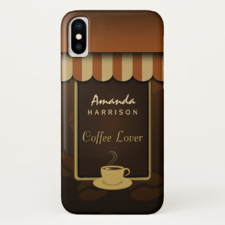 Coque iPhone X Tentes d'avant de magasin de café d'amant de café
