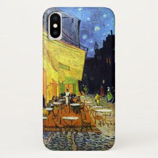 Coque iPhone X Terrasse de Café la nuit par des beaux-arts de Van