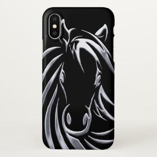 Coque iPhone X Tête de cheval argentée