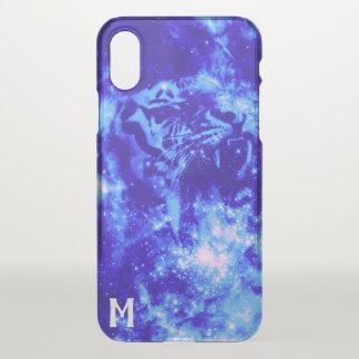 Coque iPhone X Tigre décoré d'un monogramme de l'espace