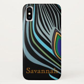 Coque iPhone X Turquoise moderne de noir de plume de paon votre