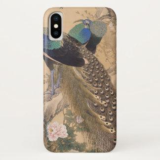 Coque iPhone X Une paire de paons au printemps par Imao Keinen