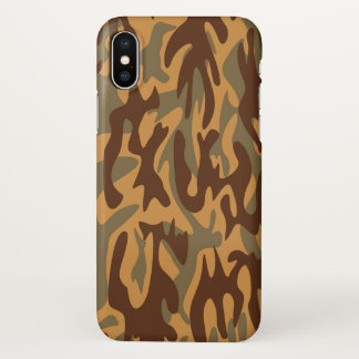 Coque iPhone X Vert militaire de brun d'armée d'impression de
