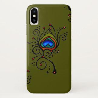 Coque iPhone X Vert olive de plume de paon