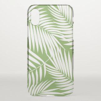 Coque iPhone X Vert tropical de feuille hawaïenne de paumes de