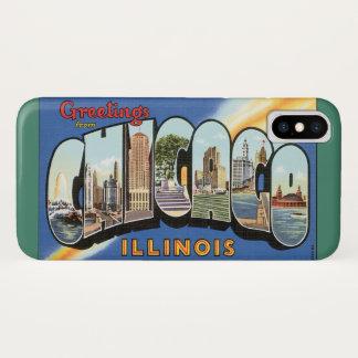 Coque iPhone X Voyage vintage, salutations de Chicago l'Illinois