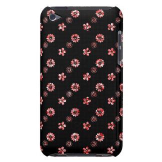 Coque iPod Case-Mate Caisse florale noire et rouge de contact d'iPod