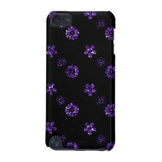 Coque iPod Touch 5G Caisse florale pourpre noire de contact d'iPod