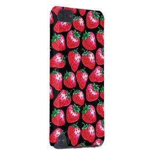 Coque iPod Touch 5G Fraise rouge sur l'arrière - plan noir