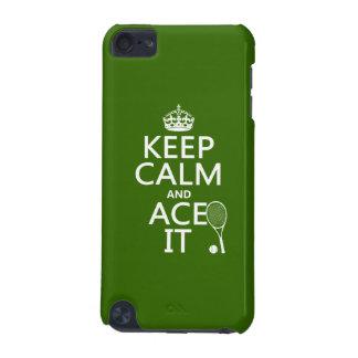 Coque iPod Touch 5G Gardez le calme et Ace le (le tennis) (dans toute
