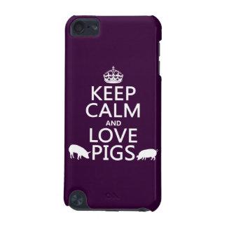 Coque iPod Touch 5G Gardez le calme et aimez les porcs (toutes les