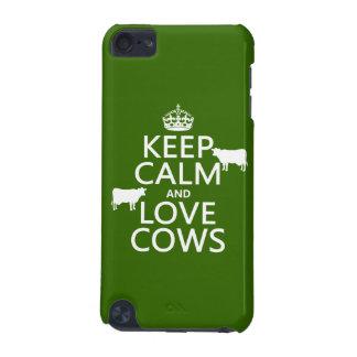 Coque iPod Touch 5G Gardez le calme et aimez les vaches (toutes les
