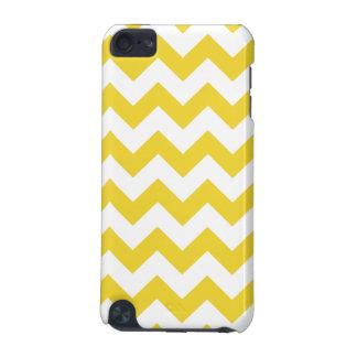 Coque iPod Touch 5G Le zigzag jaune barre le motif de Chevron
