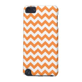 Coque iPod Touch 5G Le zigzag orange barre le motif de Chevron