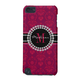 Coque iPod Touch 5G Rouge cramoisi, damassé magenta, nom et monogramme