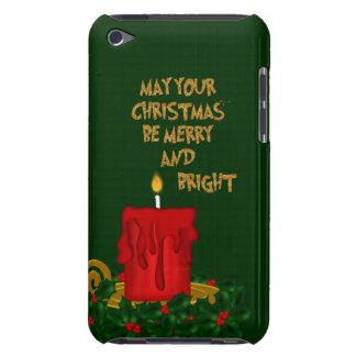 Coque iPod Touch Joyeuse bougie lumineuse de Noël, caisse rouge de