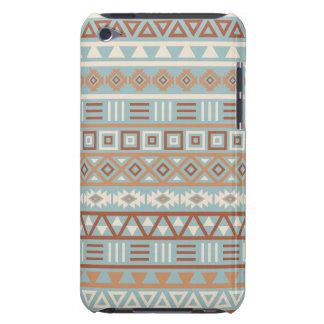 Coque iPod Touch Terres cuites crèmes bleues de motif aztèque