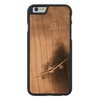 Coque Mince En Cerisier iPhone 6 Avion à réaction dans l'iPhone en bois de pilote