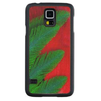 Coque Mince En Érable Galaxy S5 Abrégé sur rouge et vert plume