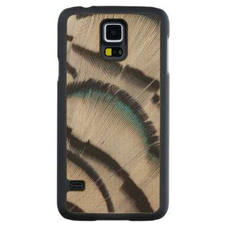 Coque Mince En Érable Galaxy S5 Conception argentée de plume de faisan