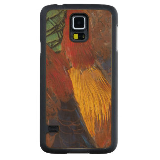 Coque Mince En Érable Galaxy S5 Conception de plume de faisan d'or