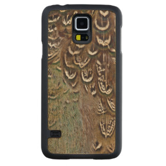 Coque Mince En Érable Galaxy S5 Détail de plume de faisan de Melanistic