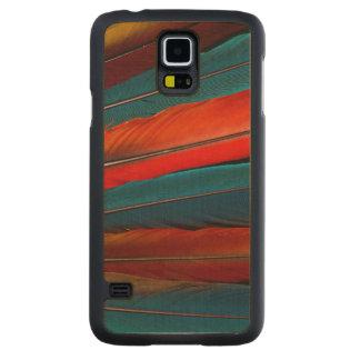 Coque Mince En Érable Galaxy S5 Plumes de queue d'ara d'écarlate