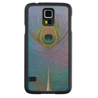 Coque Mince En Érable Galaxy S5 Verticale de plume de paon