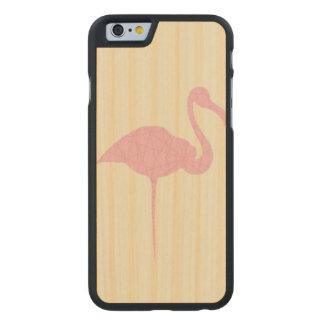 Coque Mince En Érable iPhone 6 Flamant rose sur l'arrière - plan rayé par jaune
