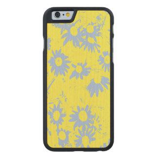 Coque Mince En Érable iPhone 6 Fleurs bleues de cône avec l'arrière - plan jaune
