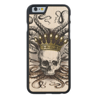 Coque Mince En Érable iPhone 6 Le Roi Squid Skull Wood Case