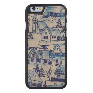 Coque Mince En Érable iPhone 6 Village bleu vintage de vacances de Noël