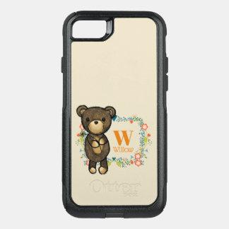 Coque OtterBox Commuter iPhone 8/7 Ours de nounours, fleur jaune et monogramme floral