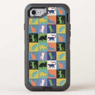 Coque OtterBox Defender iPhone 8/7 Carrés d'édredon de silhouette de chat dans des
