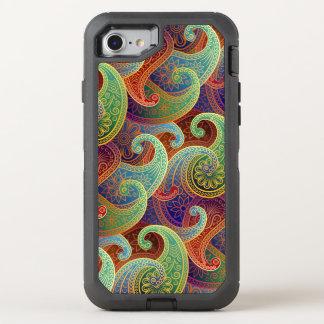 Coque OtterBox Defender iPhone 8/7 Damassé de Paisley de Bijou-Ton de Boho