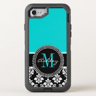 Coque OtterBox Defender iPhone 8/7 Damassé Girly de noir d'Aqua votre nom de