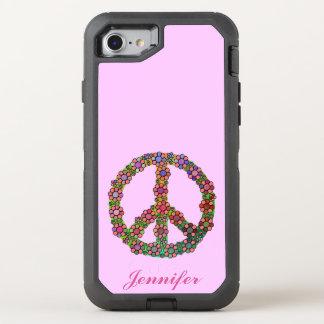 Coque OtterBox Defender iPhone 8/7 Le symbole de signe de paix fleurit joli floral