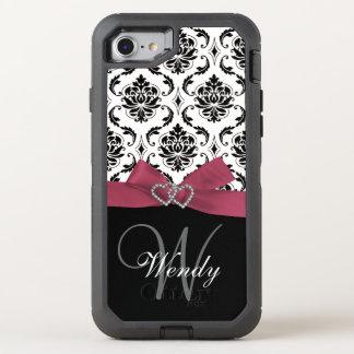 Coque OtterBox Defender iPhone 8/7 Motif initial, rose, noir de damassé