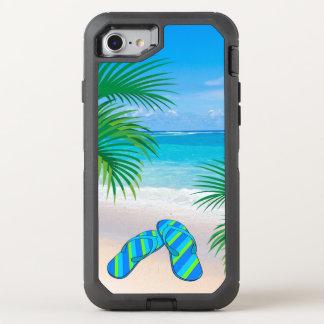 Coque OtterBox Defender iPhone 8/7 Plage tropicale avec des palmiers et des bascules