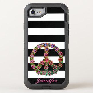 Coque OtterBox Defender iPhone 8/7 Rayures blanches noires florales de fleur de