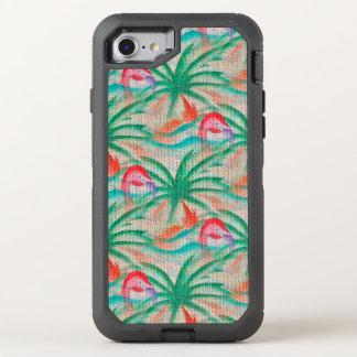 Coque OtterBox Defender iPhone 8/7 Regard de toile de jute de palmier de flamant