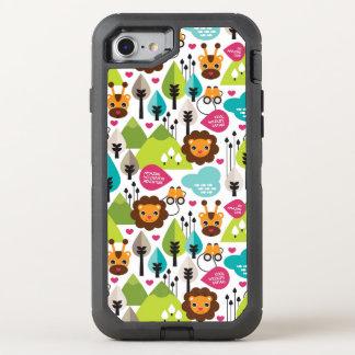 Coque OtterBox Defender iPhone 8/7 rétro faune de lion de safari d'enfants