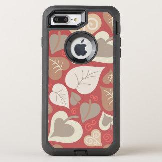 Coque OtterBox Defender iPhone 8 Plus/7 Plus beau feuille rouge de coeurs d'amour