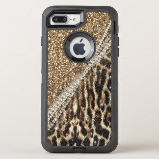 Coque OtterBox Defender iPhone 8 Plus/7 Plus Copie animale de fourrure de faux de beau léopard