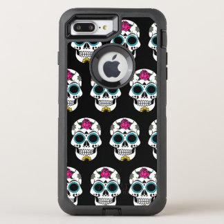 Coque OtterBox Defender iPhone 8 Plus/7 Plus iPhone argenté de crâne de sucre 7/8 cas plus