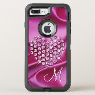 Coque OtterBox Defender iPhone 8 Plus/7 Plus Motif de vagues en soie de Faux de diamants de