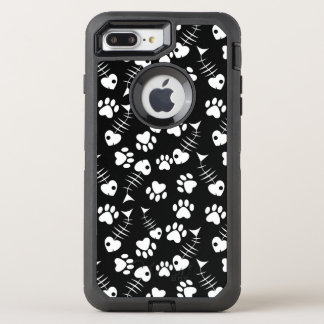 Coque OtterBox Defender iPhone 8 Plus/7 Plus motif d'impression de chat d'os de poissons