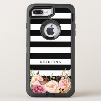 Coque OtterBox Defender iPhone 8 Plus/7 Plus Rayures blanches noires classiques florales Girly