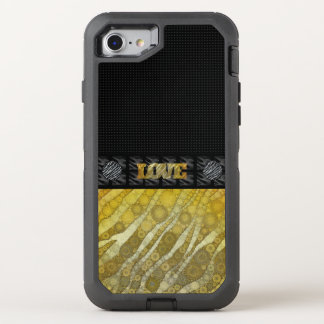 Coque Otterbox Defender Pour iPhone 7 Amour de zèbre d'or